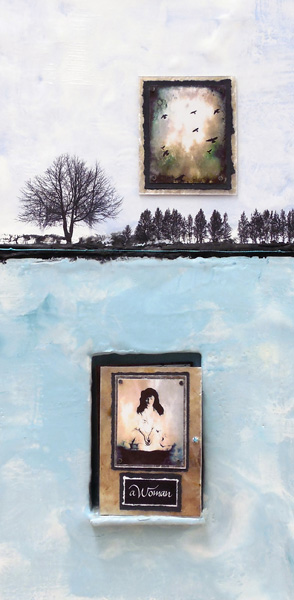"Adele, Sanborn, Woman, Encaustic with photos and calligraphy, 12""x 20"""