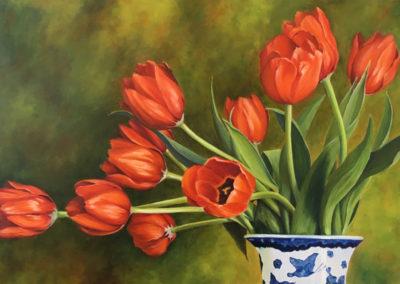 """BJ, Eckardt, Quarantine Tulips, oil on linen, 36""""x 24"""""""