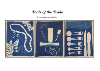 "Betsy, Ayotte, Tools of the Trade, Cyanotype print on fabric, 30""x 16"", Three images framed together as one piece."