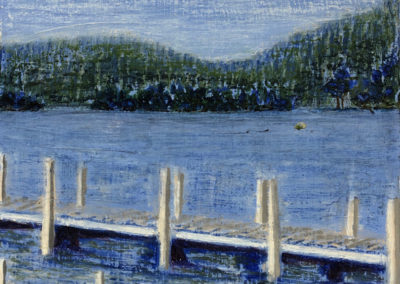 "Betty Flournoy, Brown, Looking for Loon Nest, Oil painting on birch panel , 10""x 10"" x 1 5/8"", Created at Lake Winnipesaukee of the Loon Preservation Committee's work in the distance."