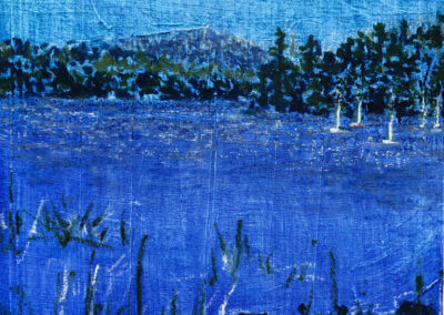 """Betty Flournoy, Brown, Massabesic: Place of Much Water, Oil Paintings on panels, 10""""x 10"""" x 1 5/8"""", Created on location where lake drinking water serves 125,000 people in the region."""