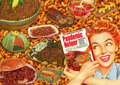 "Donna, Catanzaro, Pandemic Helper, Digital Collage, 20""x 16 x 1"", Our relationship with food has completely changed during the pandemic. Folks who rarely cooked in the past are now becoming avid bakers. Comfort foods and meals from our childhood are being revisited. Food and cooking has become much more significant."