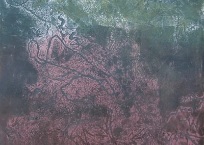 Kate Higley, Swamp II, collograph monoprint, Akua inks on rag paper, 24 x 16 inches