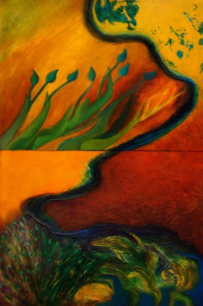 Loretta CR, Hubley, , 2 part oil painting on canvas