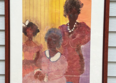 """Lucy, Mueller, Family Secrets, 3D collage of the artist's etchings, relief, screen, monotype and collagraph prints plus found objects, 27.5"""" x 35"""", Three generations illustrating outspoken and unspoken family rules."""