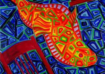 """Marcia Santore, Slip, acrylic paint on canvas, 36"""" x 36"""", NFS"""