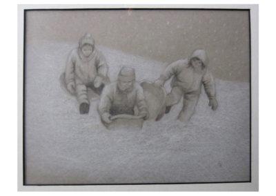 "Margaret Femia, Snow Fun, Graphite on gray paper, 12"" x 15-1/2"", $100"