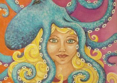 "Sharon Zimmermann, Intertwined, acrylic on canvas, 10"" x 10"", $150"