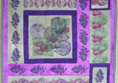 "Robin Cornwell, Garden Bounty, acrylic paint block and leaf prints on hand-dyed fabric, hand quilted, 35"" x 37"""