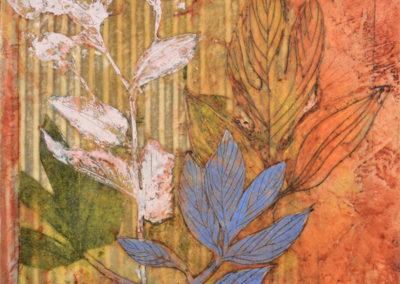 "Debra Claffey, Wood-Aster, oil, encaustic, monotype, collage on panel, 12"" x 12"", $850"